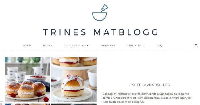 Omtale av bloggen Trines Matblogg